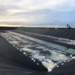 BASSIN irrigation  sucrerie avec étanchéité géomembrane